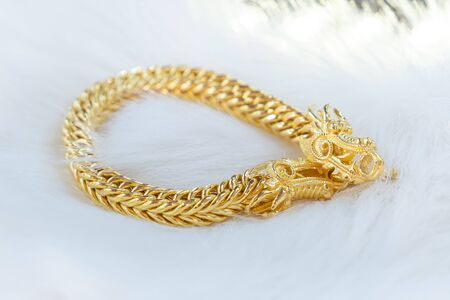 Luxury gold bracelet, Golden Dragon Pixiu or Pi Yao on white background. Traditional of china for Wealth and Good Fortune.