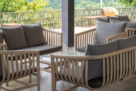 Relax corner with modern sofa on rooftop luxury coffee cafe shop. 版權商用圖片