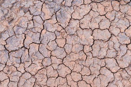 Close up. Nature background of cracked dry lands. Natural texture of soil with cracks. Lifeless desert on earth.