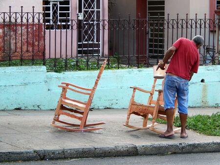 Cuba, carpenter, work, old, chair, black men, brush 写真素材 - 150539294