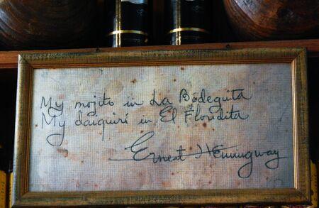 cuba, ernest hemingway signature in a bar