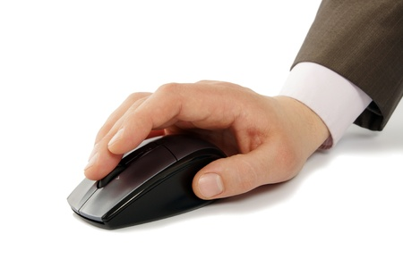 hand with computer mouse photo