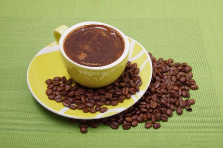 coffee cup with beans photo