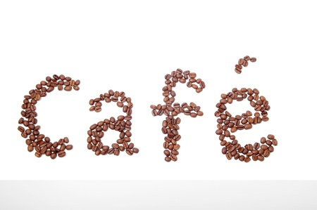 cafe sign made of coffee beans