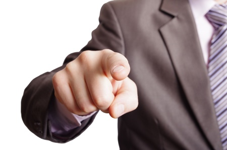 pointing finger: pointing a finger Stock Photo