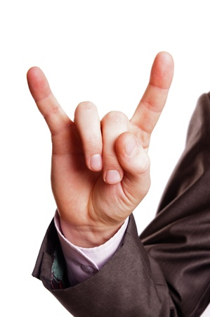 suited up: horn finger sign Stock Photo
