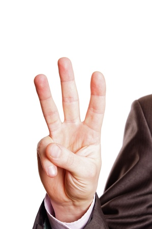 three persons: three finger sign