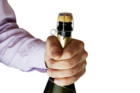 holding champagne bottle Stock Photo