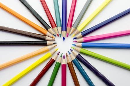 heart made of pencils