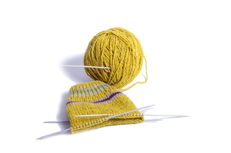 knitting a sock Stock Photo