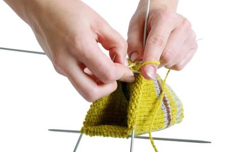 knitting a sock Stock Photo