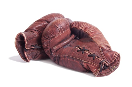 white glove: old boxing gloves Stock Photo
