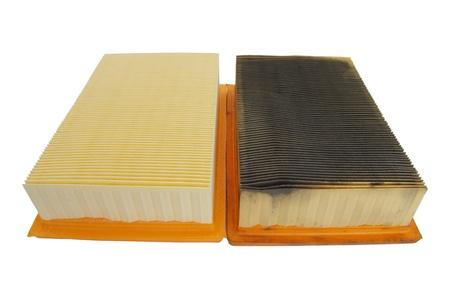 papel filtro: la comparaci�n de filtros para coches nuevos y viejos de aire Foto de archivo