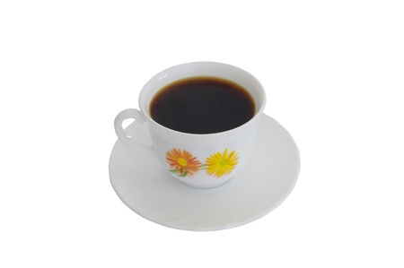 white china cup with coffe on white background