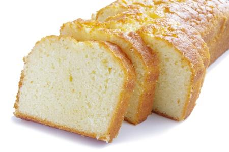 lemon cake slices on white background Stock Photo