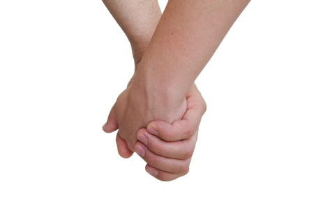 partners holding hands on white background photo