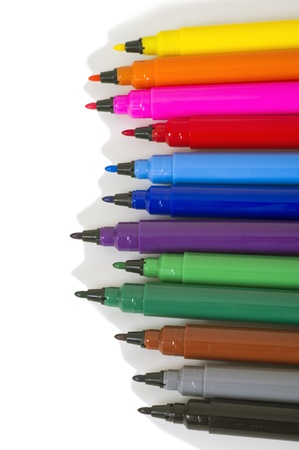 Multicolored Felt Tip Pens on White Background Stock Photo