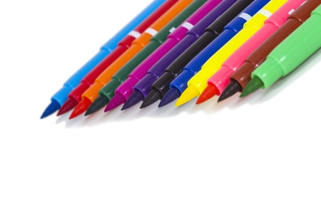 Multicolored Felt Tip Pens on White Background Stock Photo