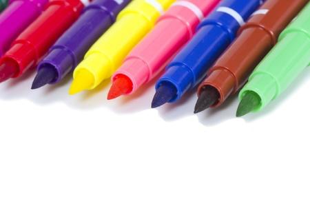 felt tip: Multicolored Felt Tip Pens on White Background Stock Photo