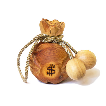 dollar icon: bag of wooden. it has dollar icon. Stock Photo