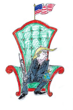 도널드 트럼프 미 대통령, 트론에 앉다. 에디토리얼