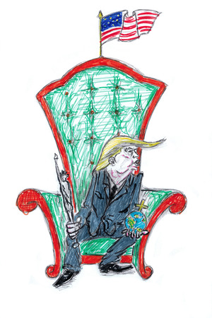 trone: Mr President Donald Trump seat on the trone
