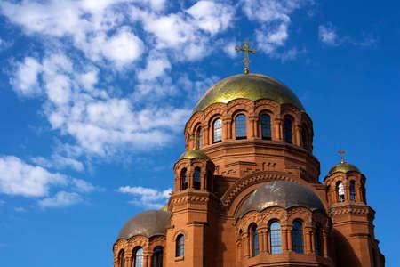 Orthodox church in the center of Volgograd, Russia. under construction