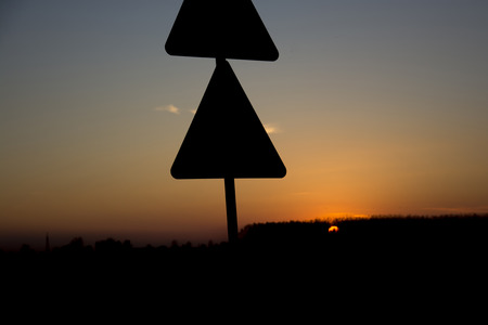 Silhouette of road signs Stockfoto