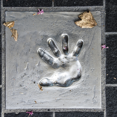 Handprint on the cement