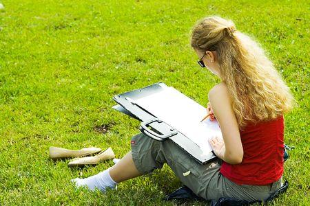 The artist on an open-air