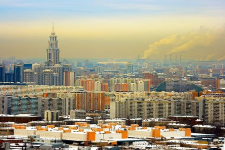 Panoramic kind to winter Moscow Stock Photo - 773742