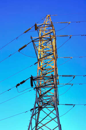 HDR the image electricity pylon against an intense blue sky Stock Photo - 889722