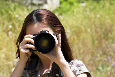photographing: The girl the photographer photographing