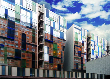 New modern apartment house with walls from color glass in Moscow Stock Photo - 1438069