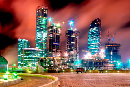 Construction of a new modern business centre Moscow City in Moscow (Russia)