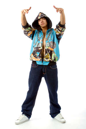 Photo of the boy in rapper clothes  photo