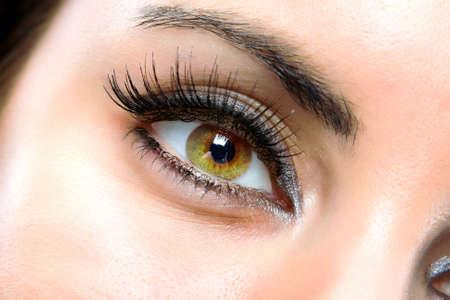 The macro beautiful female eye Stock Photo