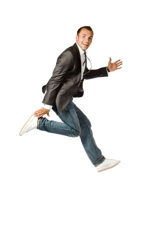 The happy businessman jumping on a white background Stock Photo - 3526310