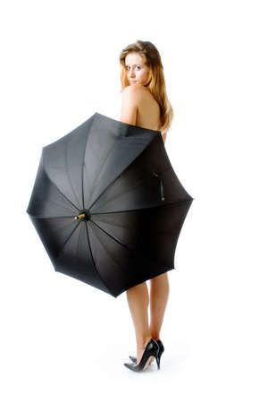 The beautiful girl with umbrellarr Stock Photo