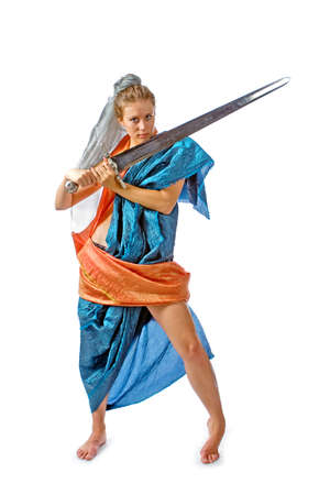 The girl with a sword in the stylised Oriental dress photo