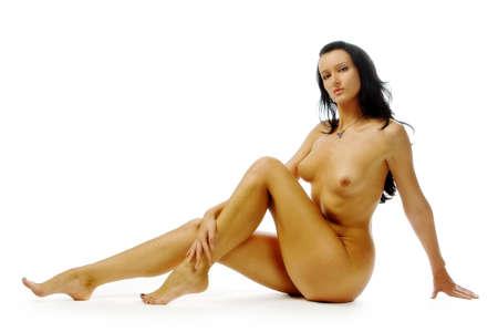 mujer desnuda: Mujer desnuda aisladas en blanco Foto de archivo