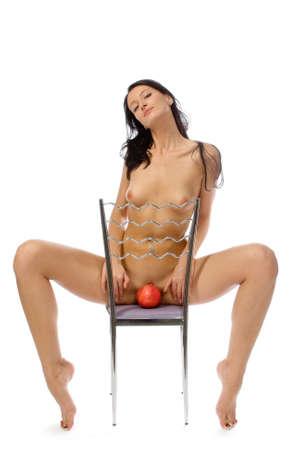 Naked donna isolati su bianco