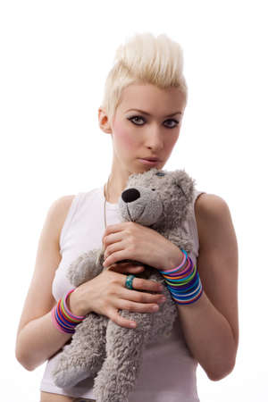 A beautiful girl with a Teddy Stock Photo - 7118676