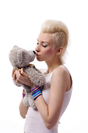 A beautiful girl with a Teddy Stock Photo - 7118675