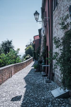 street in Santarcangelo c views of the chapel Italy