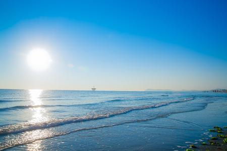 adriatico: sunset on the beach in Rimini Italy Europe