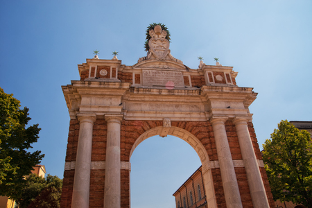 Monumental Arch dedicated to Pope Clement XIV in Santarcangelo, Italy Europe Stock Photo