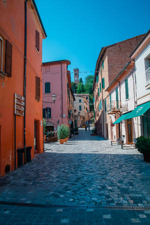 street in Santarcangelo c views of the chapel Italy Europe Stock Photo
