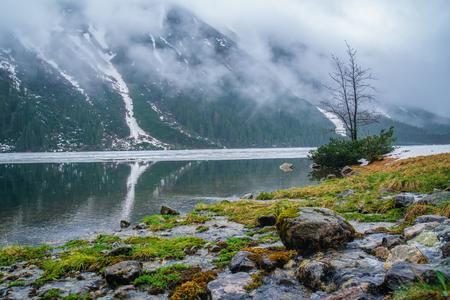 morskie: Mountain lake near Morskie Oko, Zakopane Stock Photo