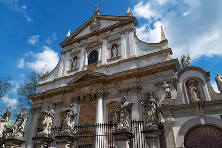 facade of baroque Church of St Peter and Paul in Krakow. Poland.